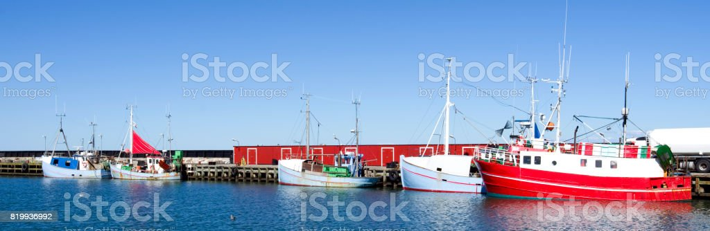 Denmark: Fishing port in North Jutland on a quiet summer day in august stock photo