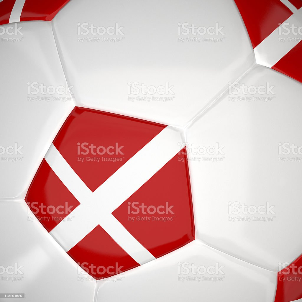 Denmark flag on 3d football royalty-free stock photo