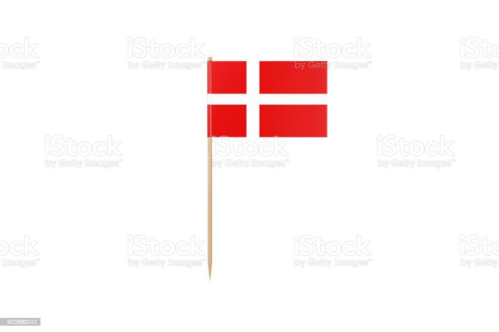 Bandera de Dinamarca en un palillo de dientes. Aislado en blanco - foto de stock