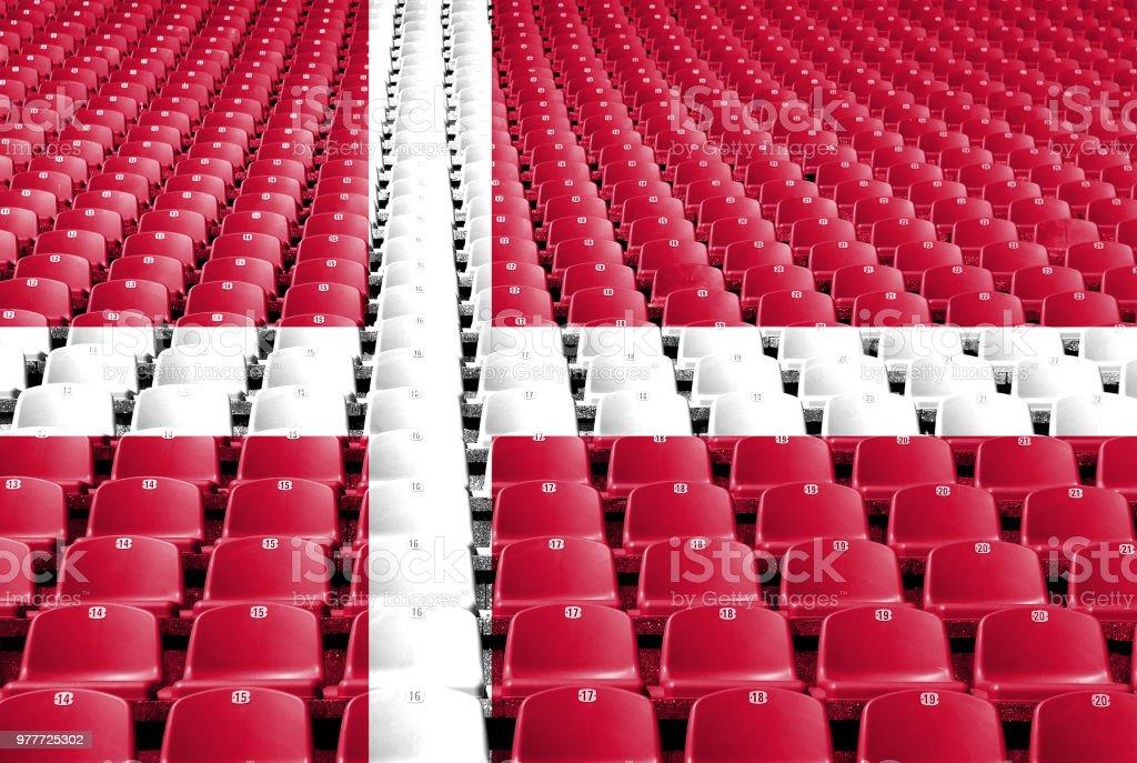 Asientos de estadio de bandera de Dinamarca - foto de stock