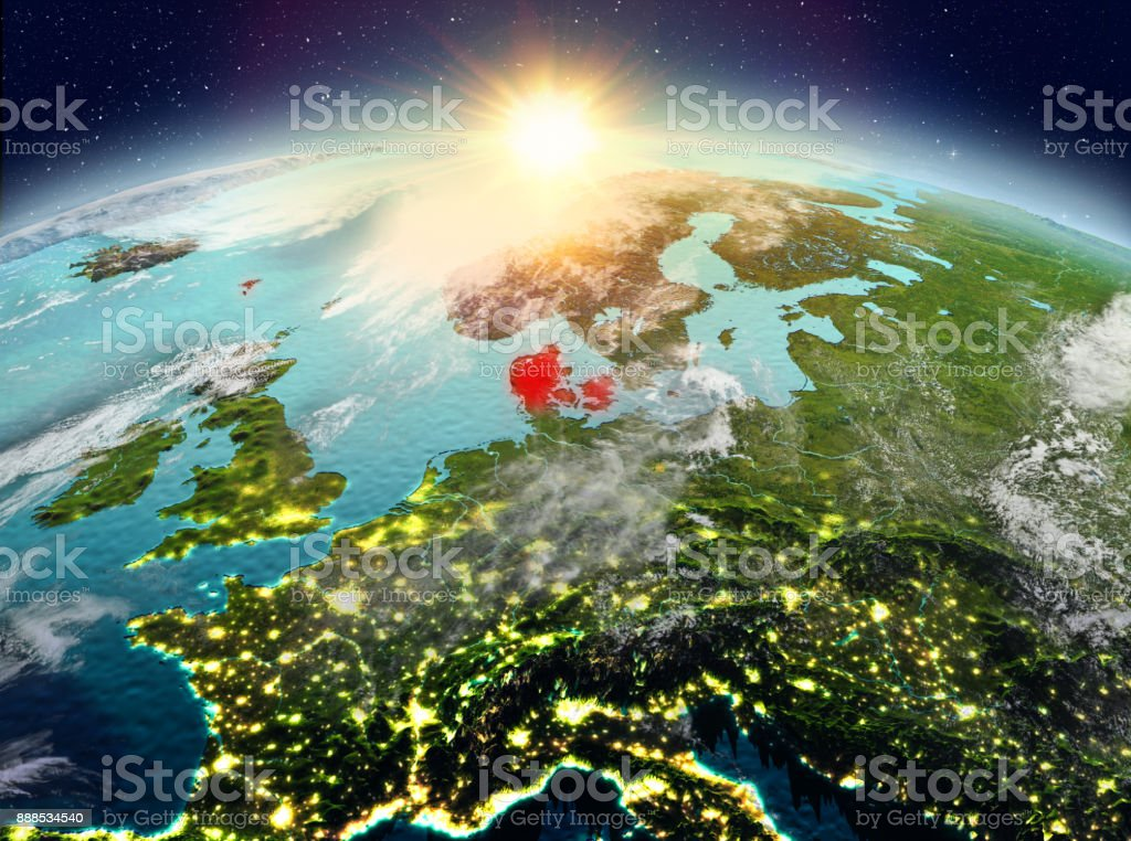 Denmark from space in sunrise stock photo