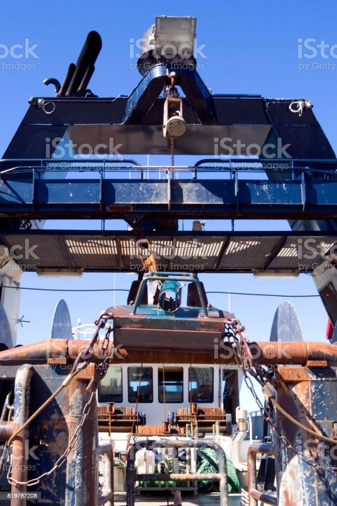 Denmark: Gantry of a modern stern trawler in a fishing port in North Jutland stock photo