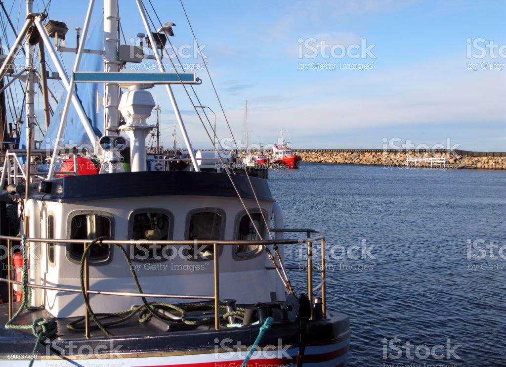 Denmark: Harbor idyll on a sunny day in December stock photo