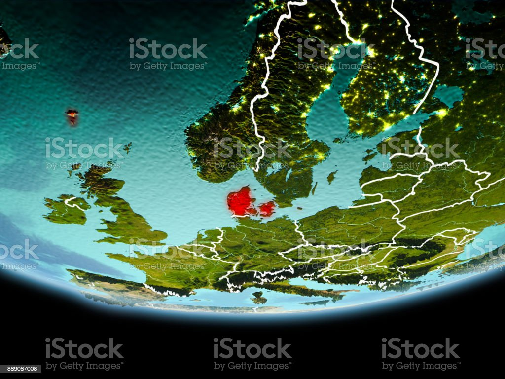 Denmark in red in the evening stock photo