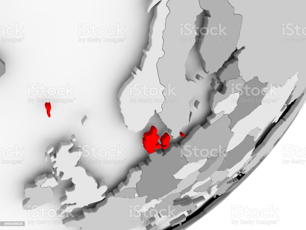Denmark in red on grey map stock photo