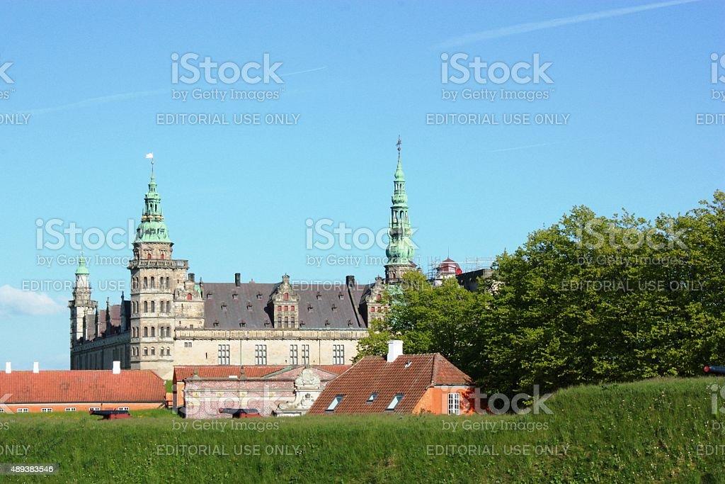 Denmark, Kronborg Castle in Helsingör under blue sky stock photo