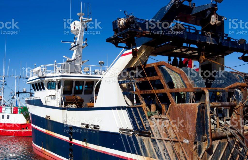 Denmark: Lobster trawler in a fishing port in North Jutland stock photo