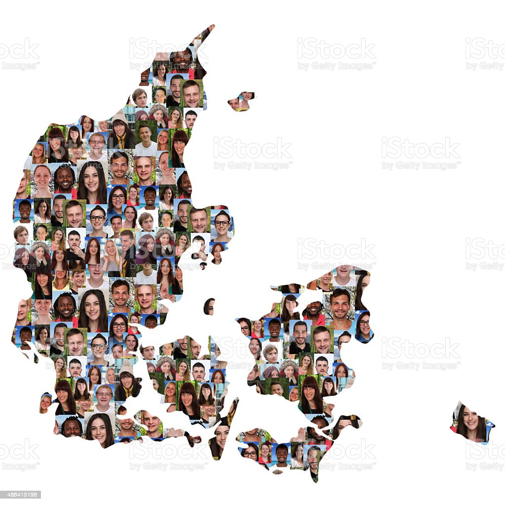 Denmark map multicultural group of young people integration stock photo