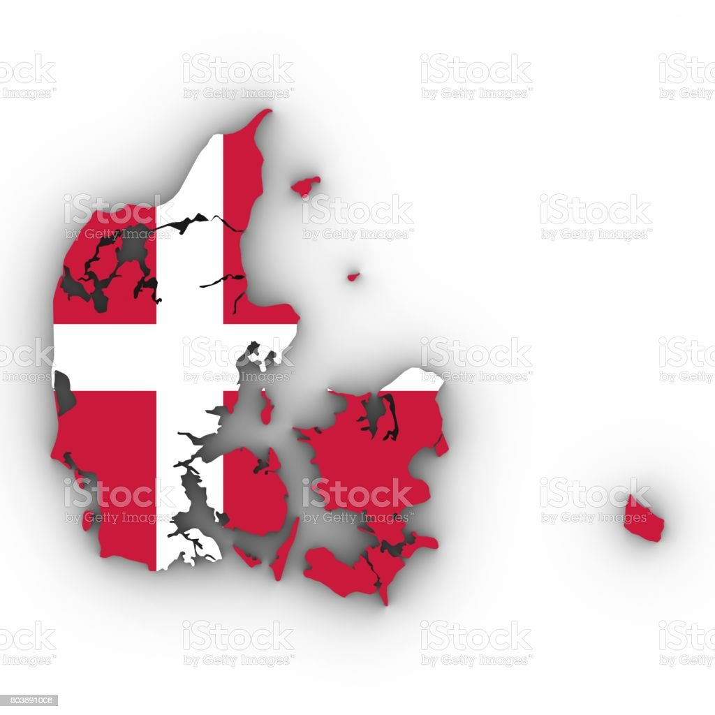 Denmark Map Outline with Danish Flag on White with Shadows 3D Illustration stock photo