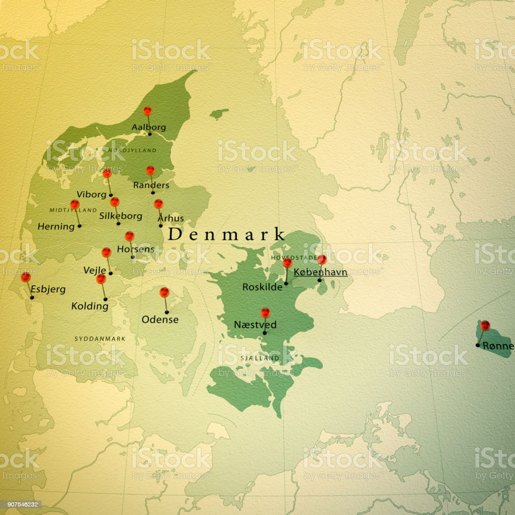 Denmark Map Square Cities Straight Pin Vintage Stock Photo More