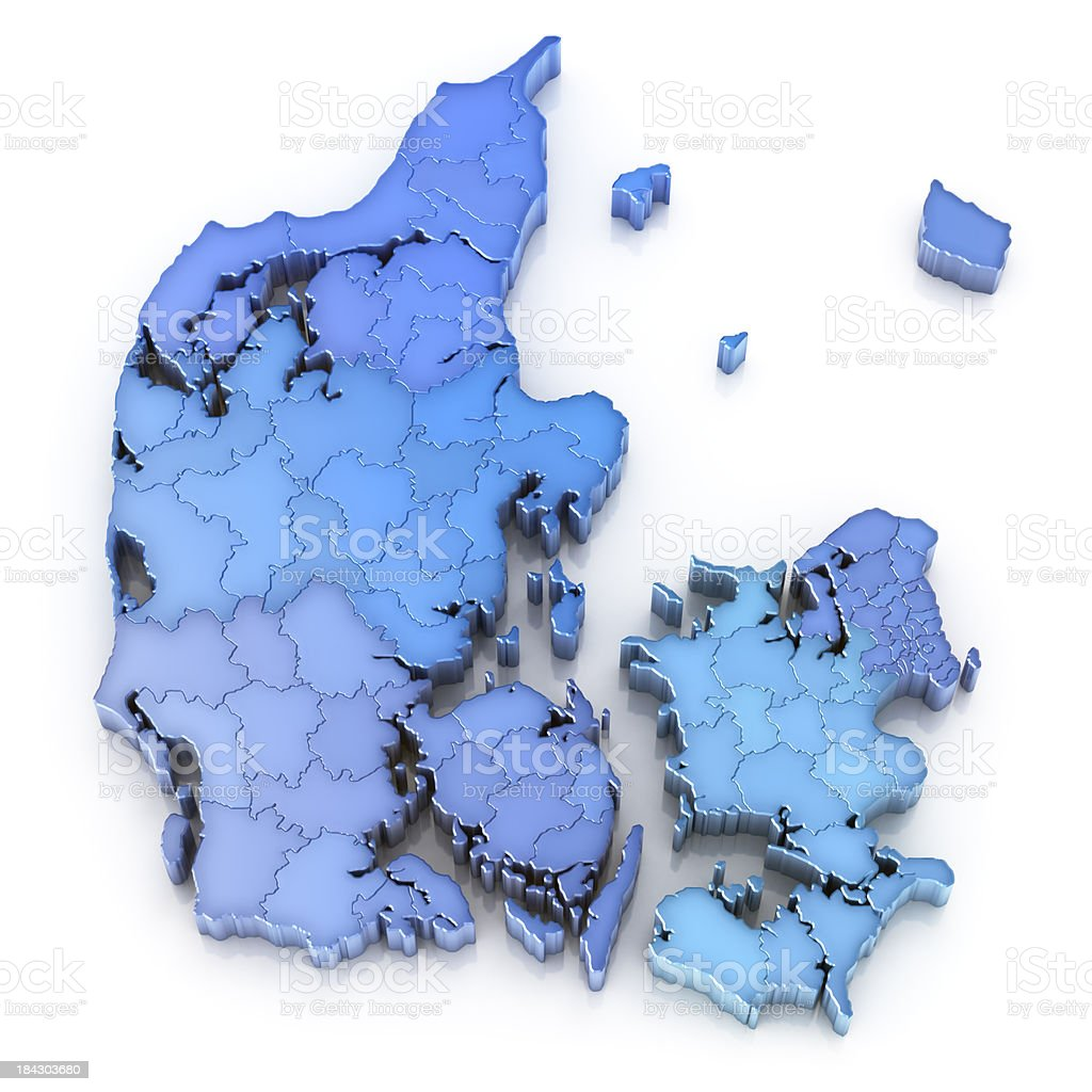 Denmark map with regions and municipalities stock photo