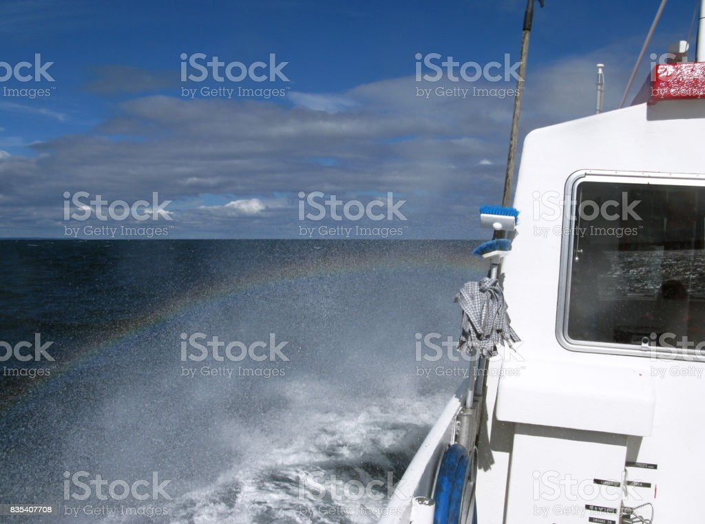 Denmark: On board of a small excursion and fishing boat on the Kattegat Sea stock photo