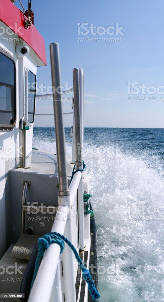 Denmark: On board of a small passenger ferryboat on the Kattegat Sea stock photo