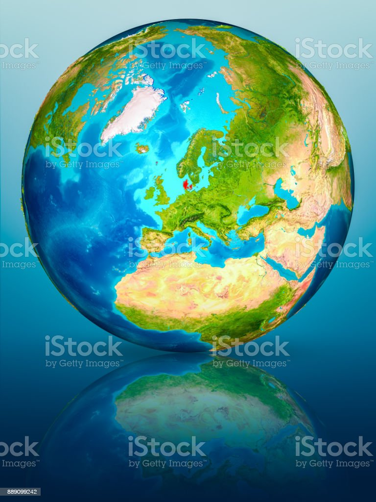 Denmark on Earth on reflective surface stock photo
