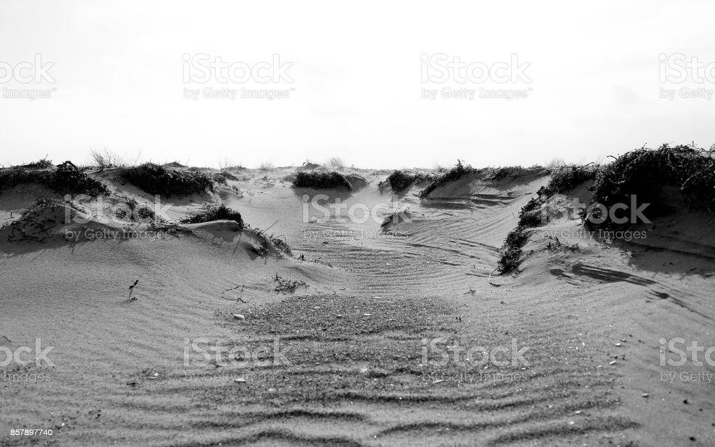 Denmark: Sand drift in a dune in North Jutland stock photo