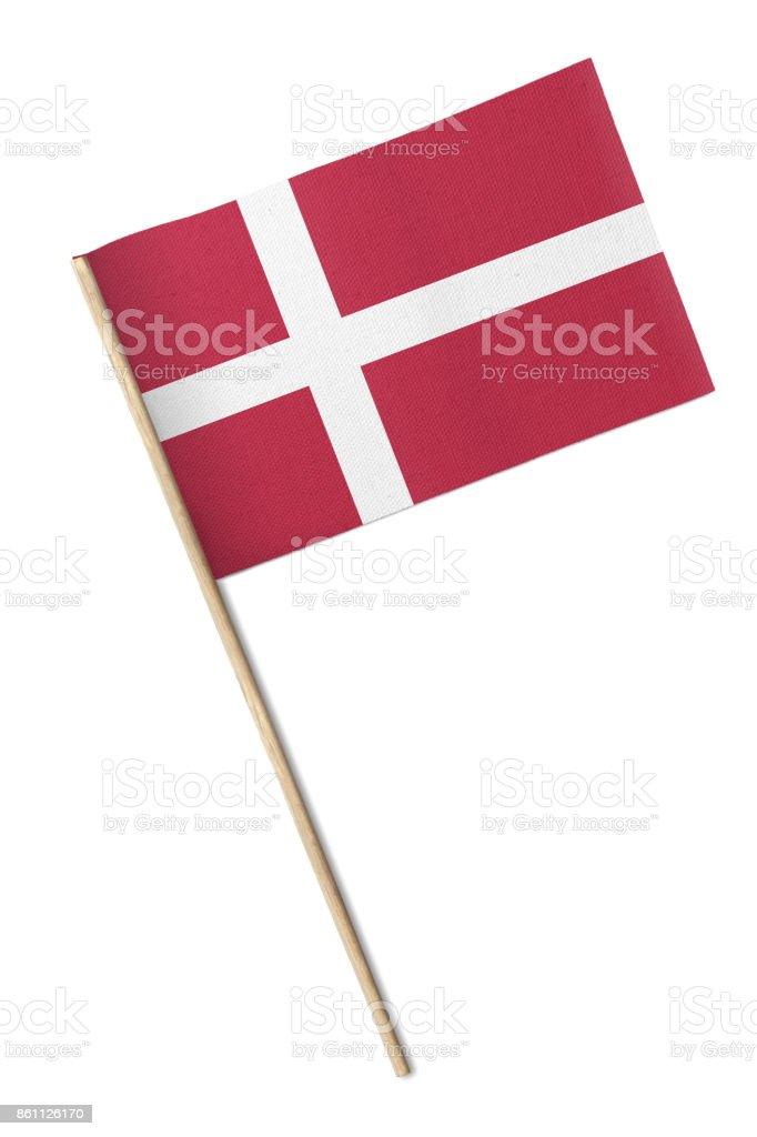 Bandera Dinamarca pequeño aislado sobre fondo blanco - foto de stock