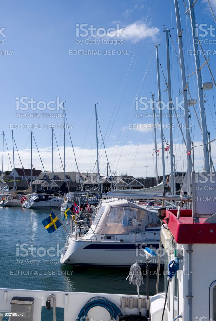 Denmark: Summer idyll in a cozy marina in the Kattegat Sea stock photo