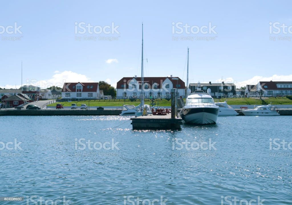 Denmark: Summer idyll in a small harbor in the Kattegat Sea stock photo