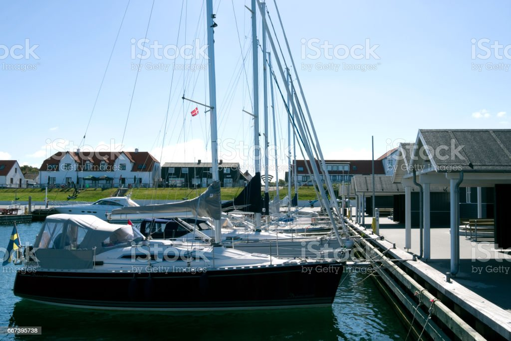 Denmark: Summer idyll in the marina of Vesteroe Havn stock photo