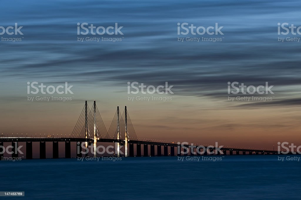 Denmark Sweden Bridge stock photo