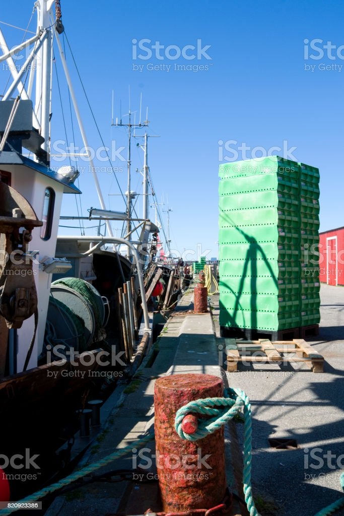 Denmark: View along the pier in a fishing port in North Jutland on a sunny day in August stock photo