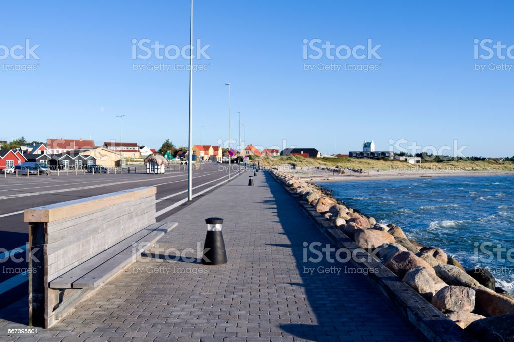 Denmark: View from the harbor mole to Vesteroe Havn stock photo