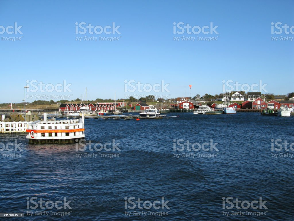 Denmark: View from the port entrance to the small fishing port in Vesteroe Havn on Laesoe island stock photo