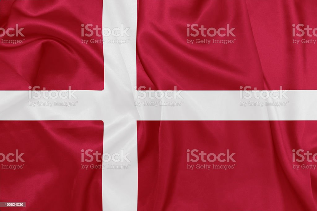 Dinamarca-agitando bandera nacional de seda textura - foto de stock