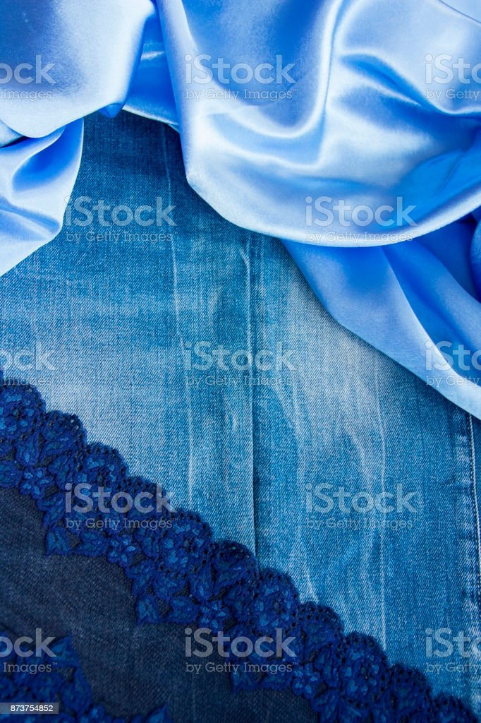efe6ade75a Dense Blue Denim Fabric Smooth Skyblue Silk And A Delicate Lace ...