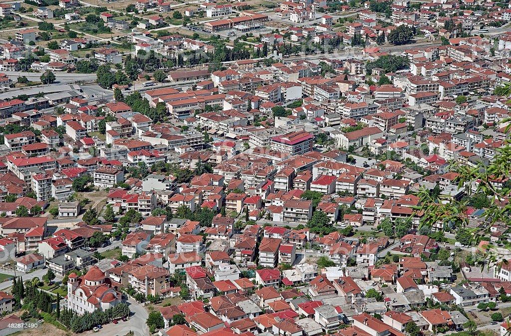 Dense Kastraki town in Greece stock photo