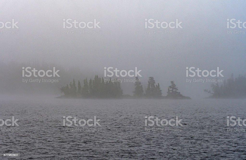 Dense Morning Fog in Canoe Counry stock photo