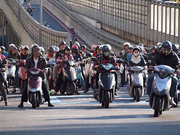 Dense Scooter Traffic in Taiwan stock photo