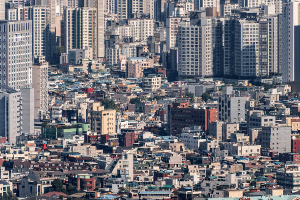 Densely populated city of Seoul, South Korea stock photo