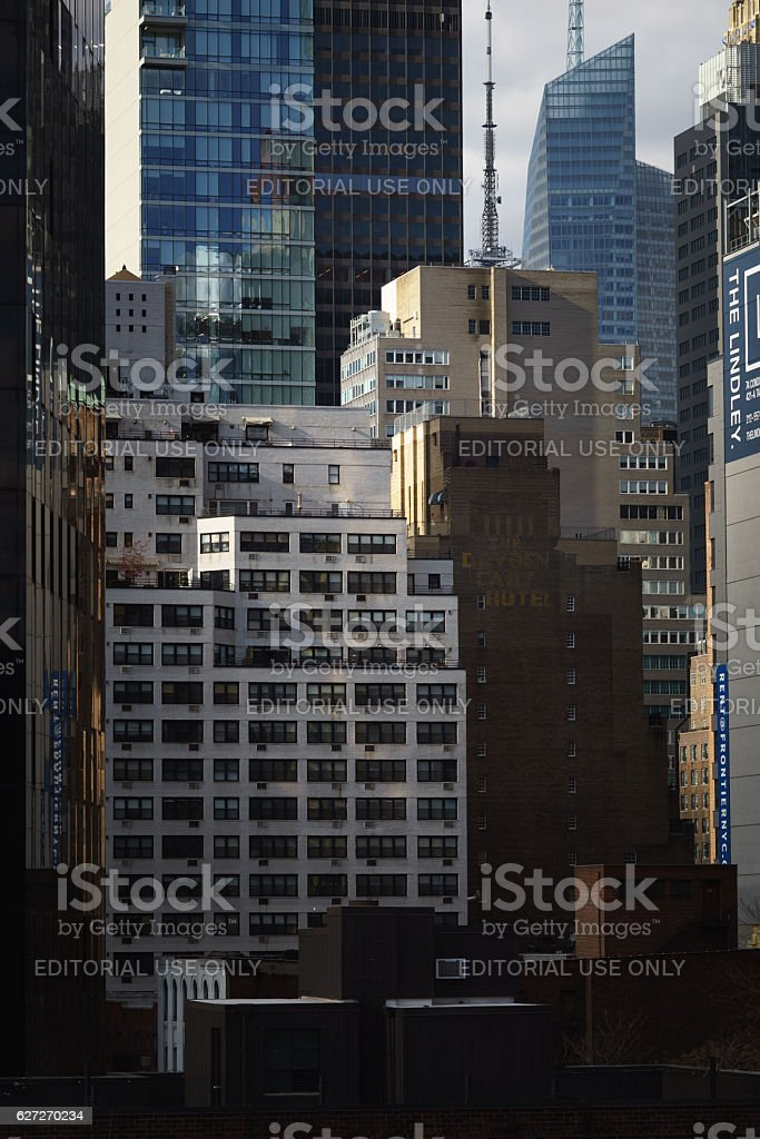 Densley packed midtown Manhattan office and residential towers stock photo