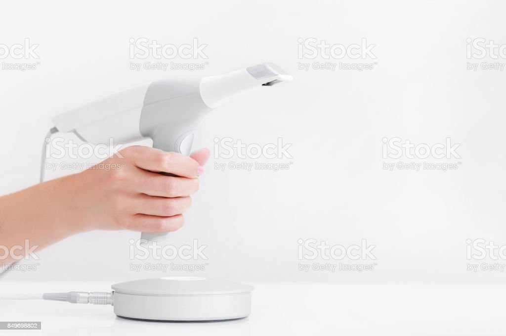 Dental 3d scanner and monitor in the dentist's office stock photo
