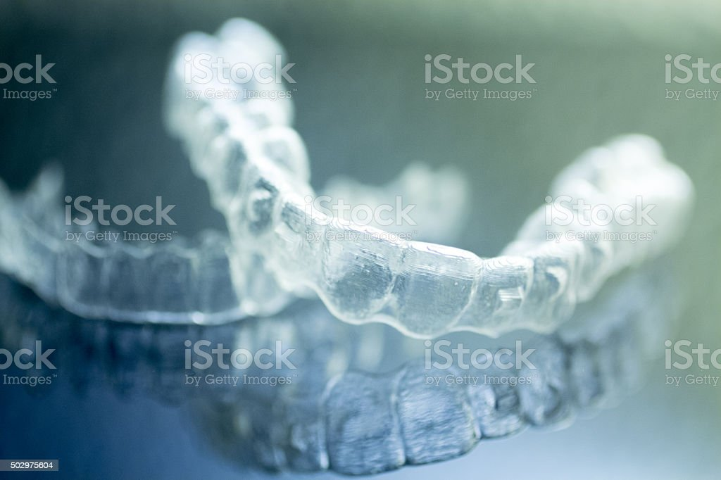 Dental aligners tooth brackets invisible braces stock photo