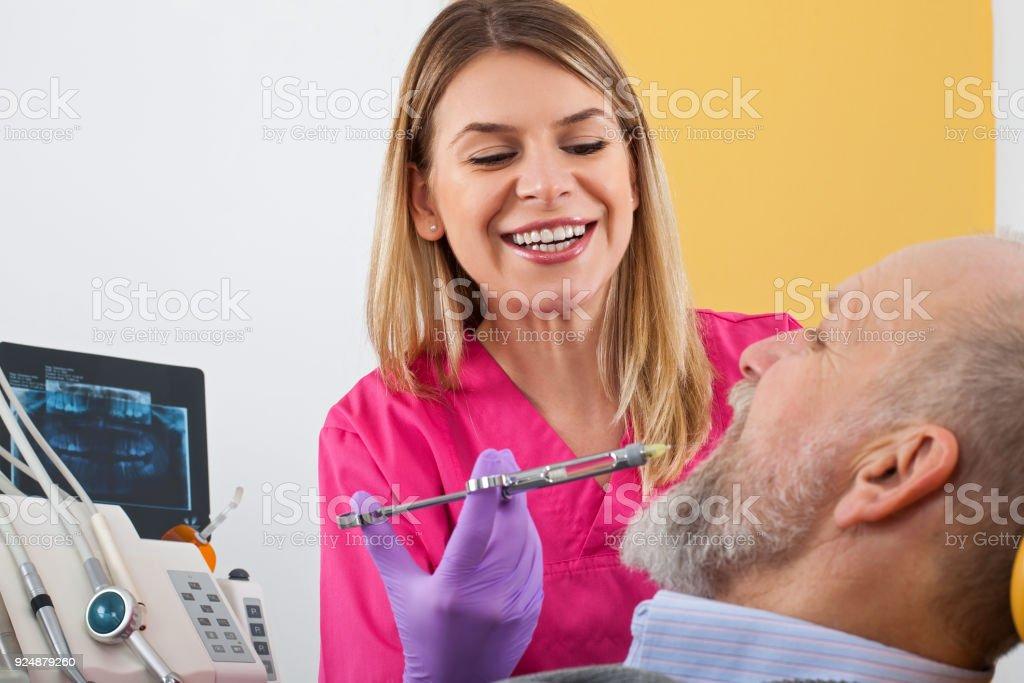 Dental anesthesic injection stock photo