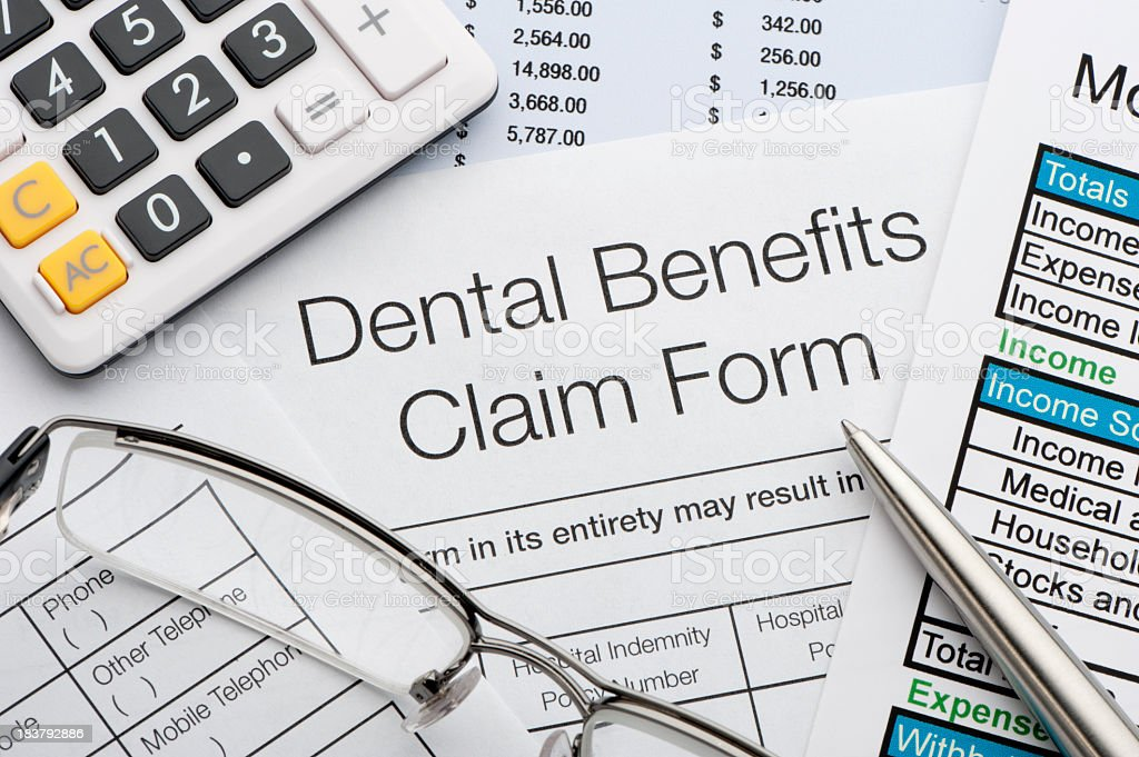 Dental benefits claim form royalty-free stock photo