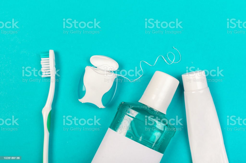 Zahnpflege-Produkte - Lizenzfrei Zahnseide Stock-Foto