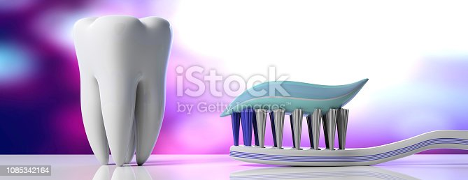 istock Dental care. Tooth paste on a toothbrush and a tooth model, purple white background, banner. 3d illustration 1085342164