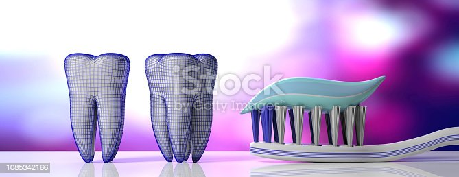 istock Dental care. Tooth paste on a toothbrush, tooth models and protective shield, purple white background, banner. 3d illustration 1085342166
