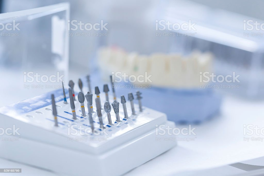 Dental ceramic preparation kit stock photo