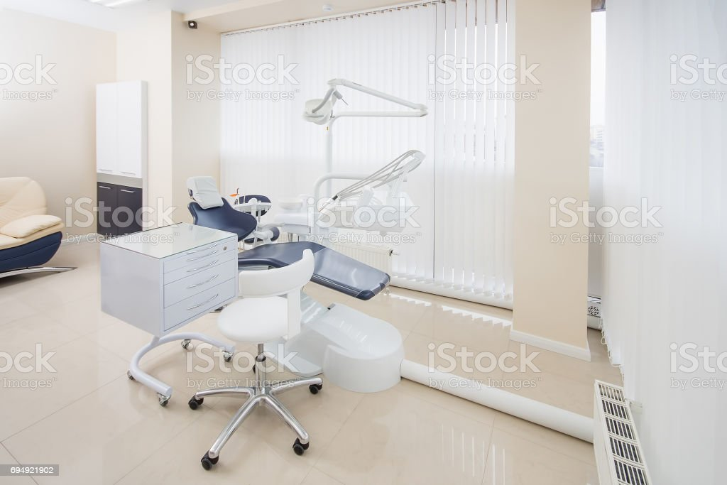 Dental Clinic Interior With Modern Dentistry Equipment Stock