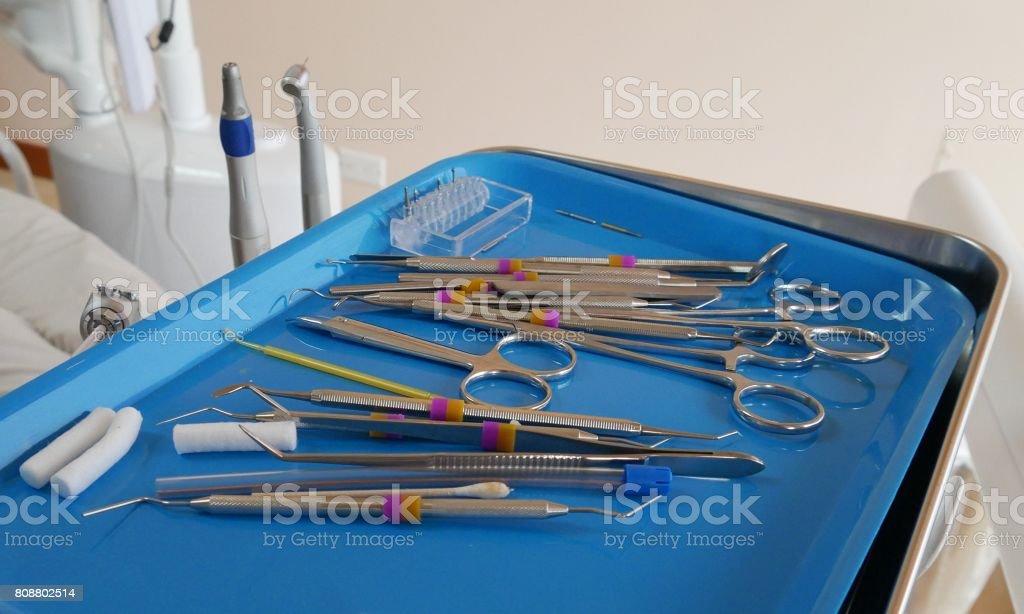 Dental clinic tools stock photo