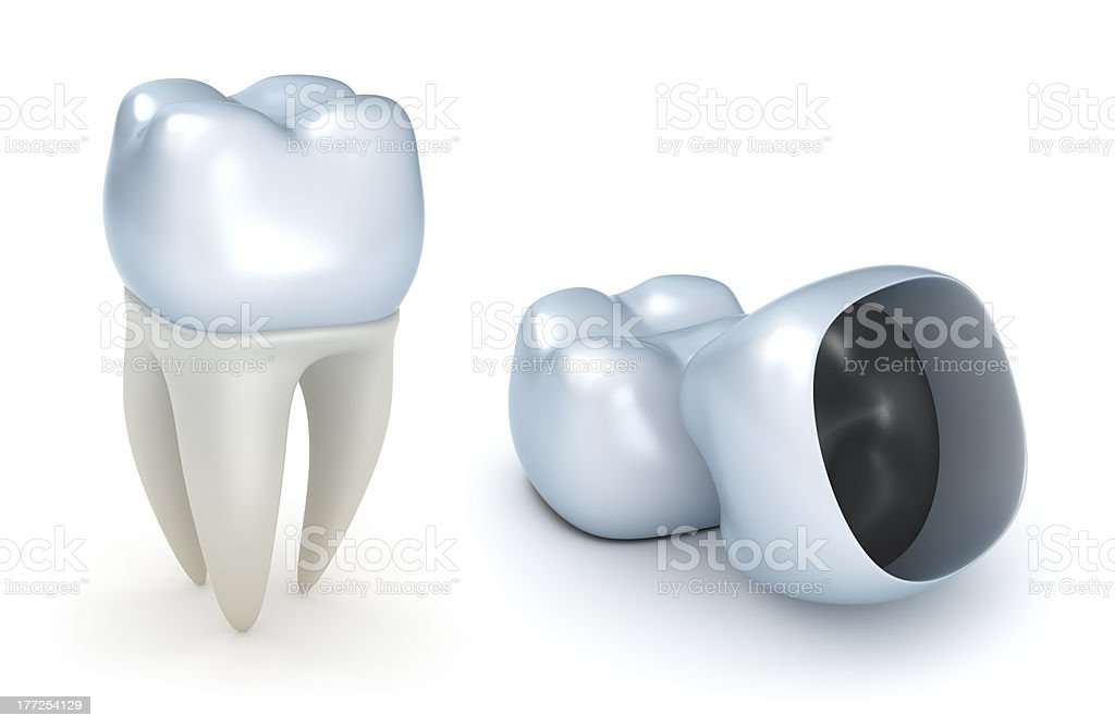 Dental crowns and tooth stock photo