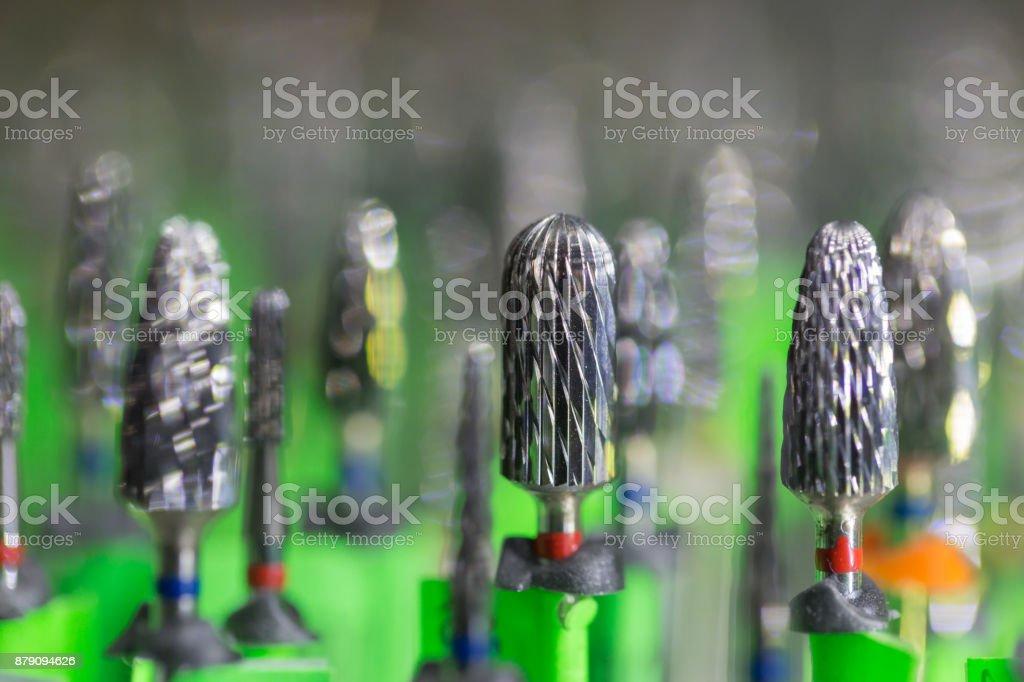 Dental equipment, carbide drills stock photo