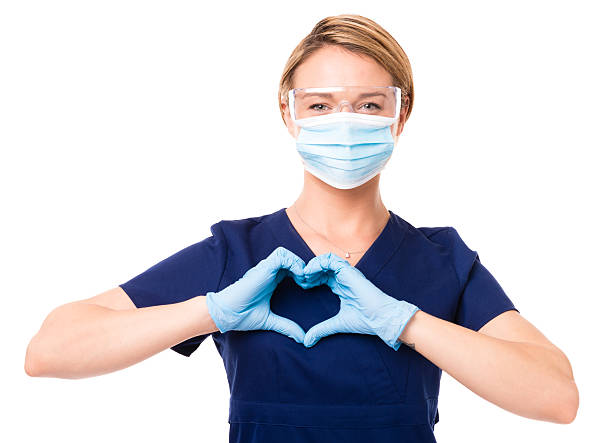 dental hygenist doctor nurse isolated on white background - dental assistant stock photos and pictures