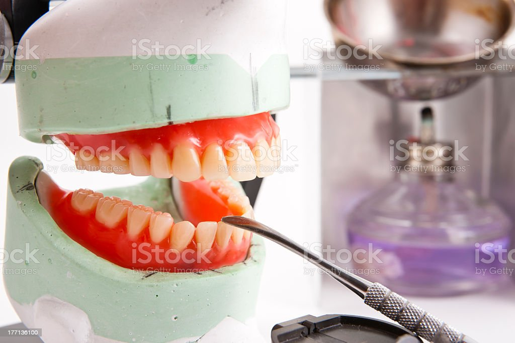 Dental lab articulator and equipments for denture royalty-free stock photo