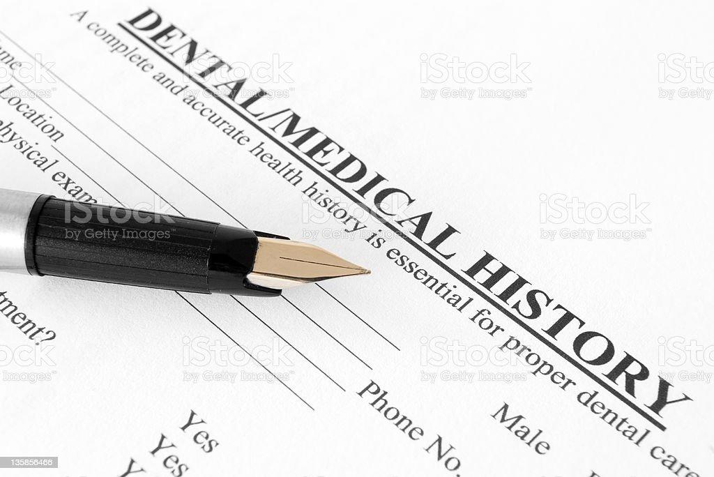 Dental medical history form stock photo