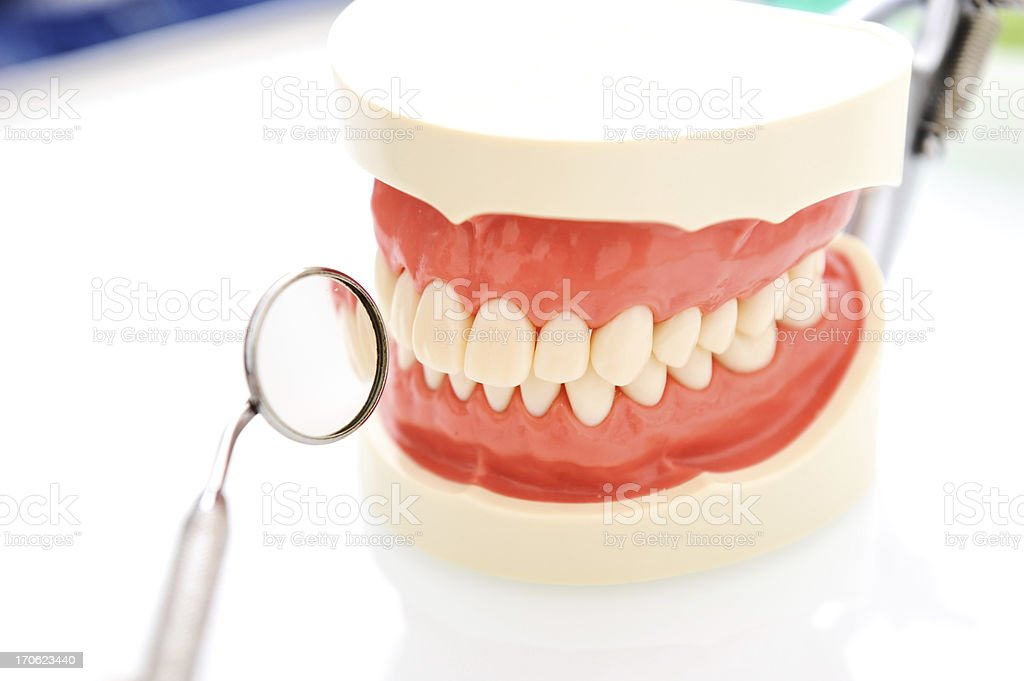 Dental mirror and teeth royalty-free stock photo